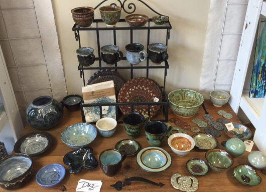 debra griffin pottery at store the artful mix, hopedale, MA