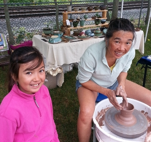 debra griffin pottery at the ashland farmers market in Ashland, MA