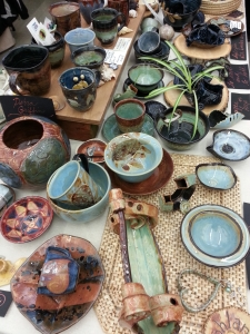 debra griffin demo and pottery at the indoor ashland farmers market in Ashland, Massachusetts