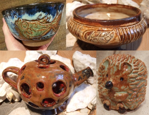 Debra Griffin's student pottery on display at Ashland Public Library