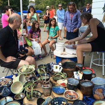 debra griffin pottery demo at Medfield Day, Medfield, MA