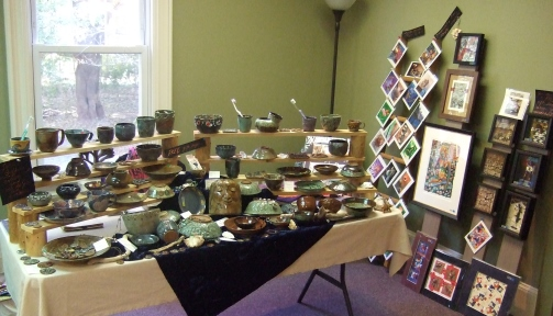 Debra Griffin pottery and art at Roots & Wings Yoga and Healing Arts Artisan Market