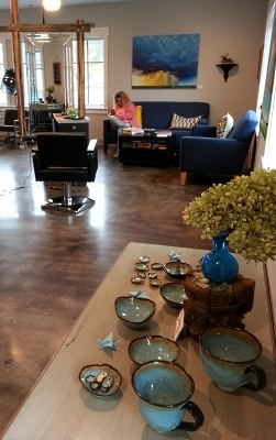 debra griffin pottery and necklaces at Sky Salon, Lincoln, MA