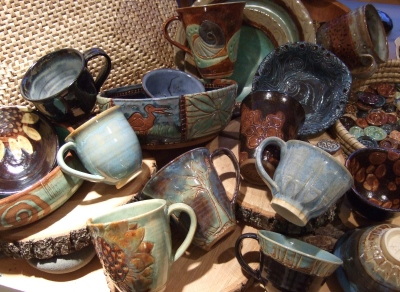 debra griffin pottery at serendipity in Hudson, Massachusetts